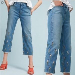 Embroidered Floral Raw Hem Cropped Anthro Jeans